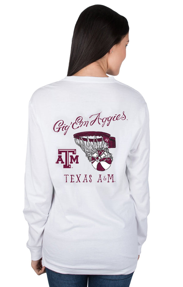 White - Texas A&M University Nothing but Net L/S - Front