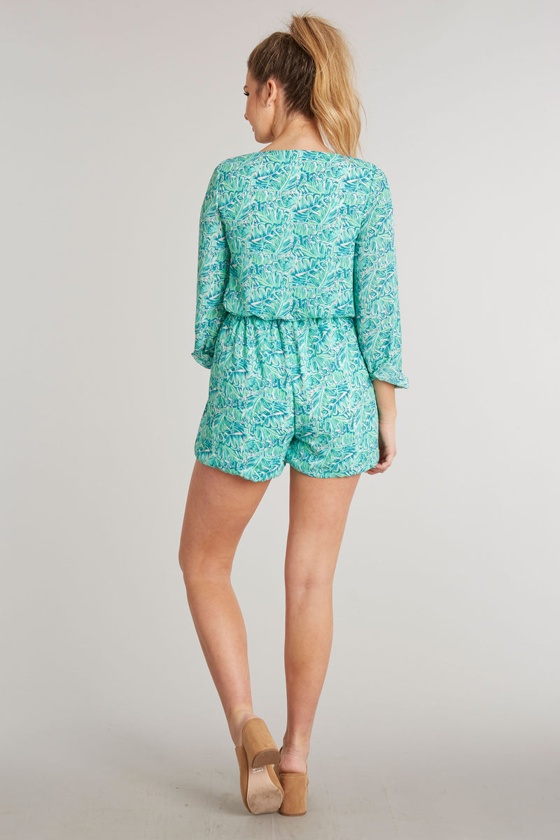 Shake Your Palm Palms Print - Adalea Romper - Back 1