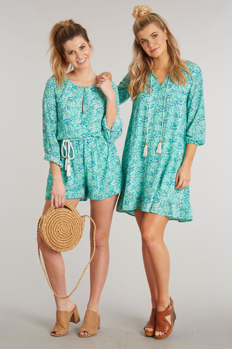 Shake Your Palm Palms Print - Adalea Romper - Back 2