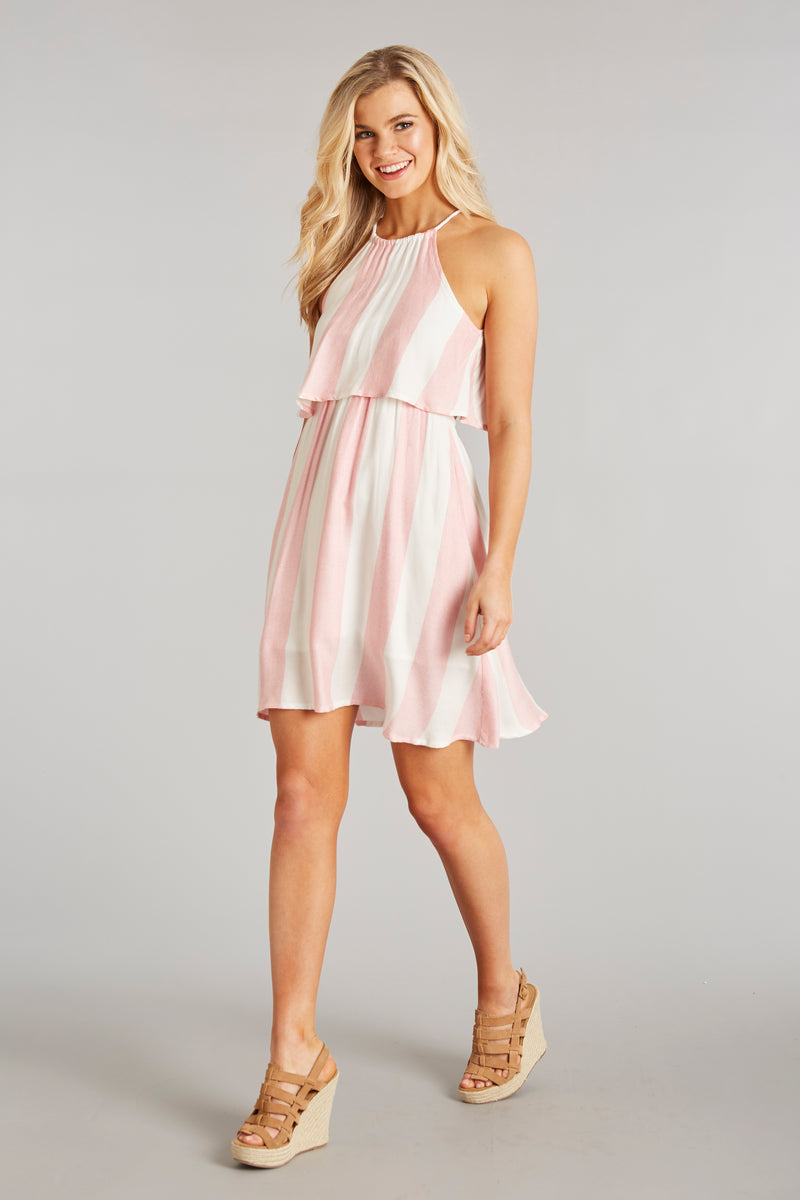 Sunset Coral Stripe - Nassau Stripe Dress - Front