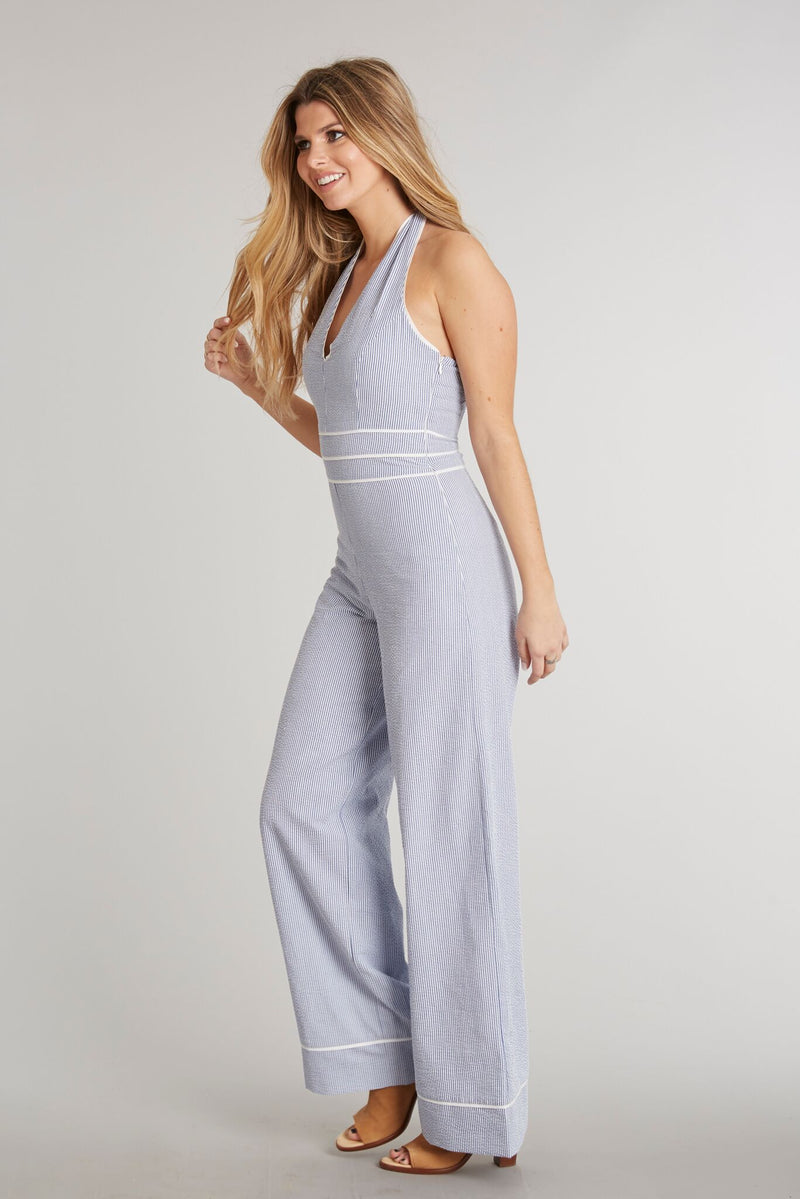 Royal Stripe - Bridgette Jumpsuit Royal Stripe - Side