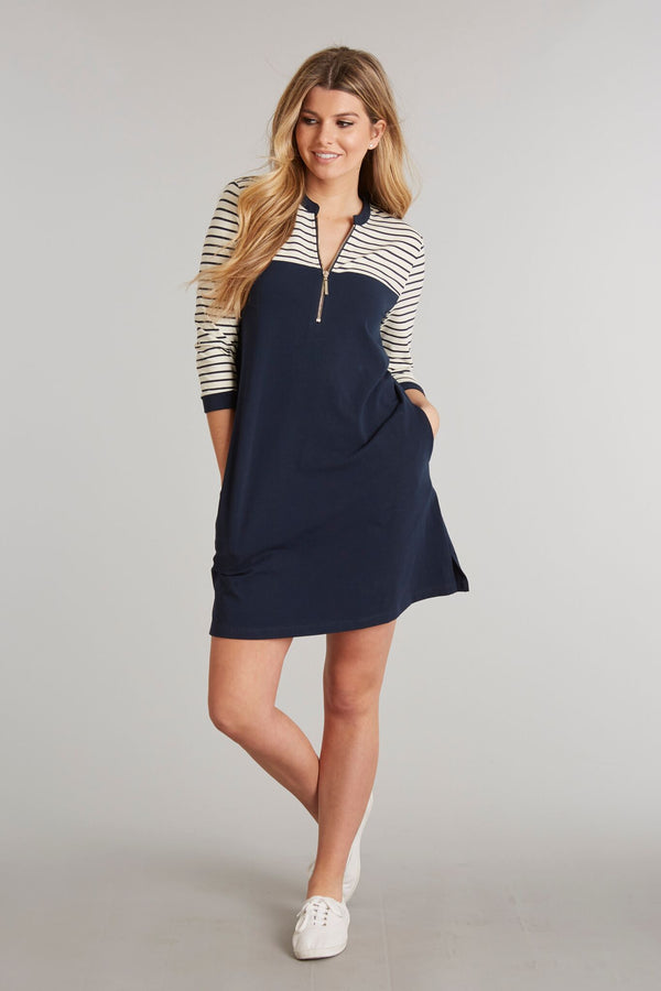 Navy Stripe - Haven Boat Dress - Front 2