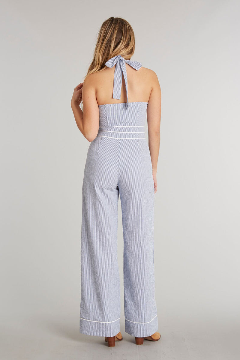 Royal Stripe - Bridgette Jumpsuit Royal Stripe - Back