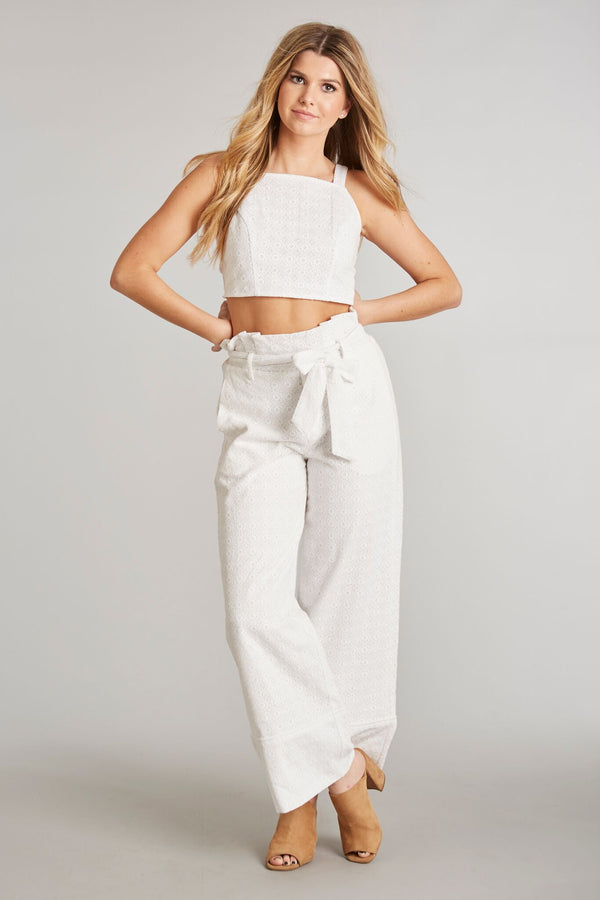 White Eyelet - Sunny Crop Top White Eyelet - Front 2