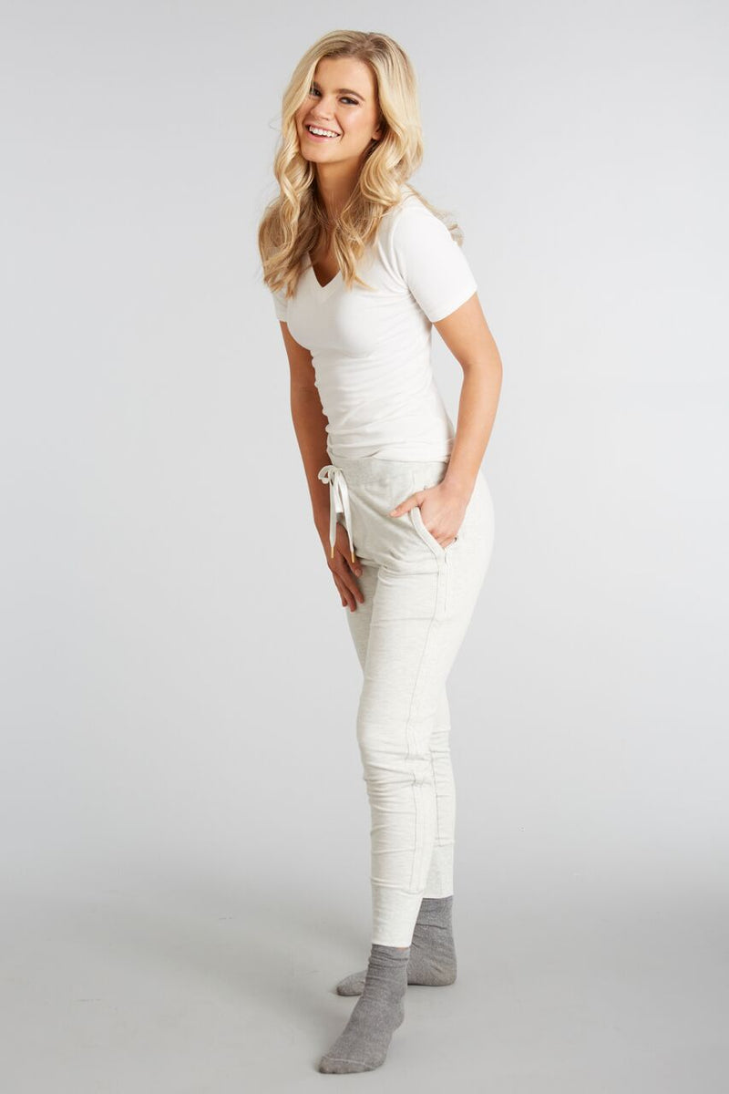 Heathered Ivory - Evelyn Jogger - Side