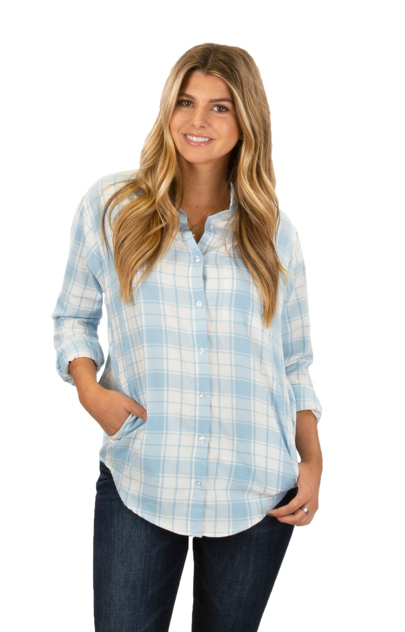 Light Blue - Brantley Flannel - Front