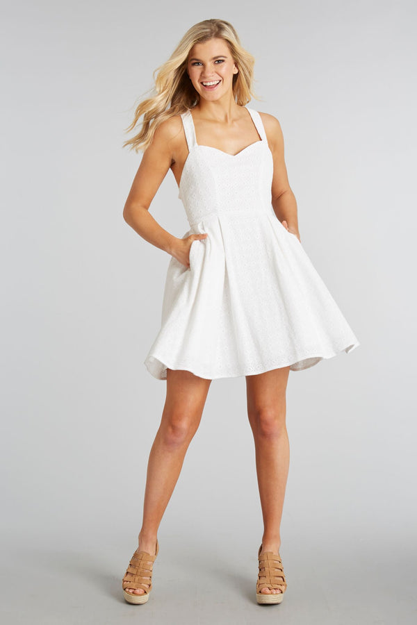 White Eyelet - Livingston Dress - White Eyelet - Front 2