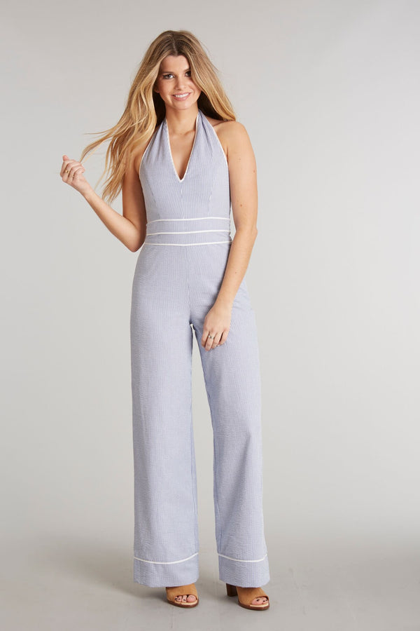 Royal Stripe - Bridgette Jumpsuit Royal Stripe - Front