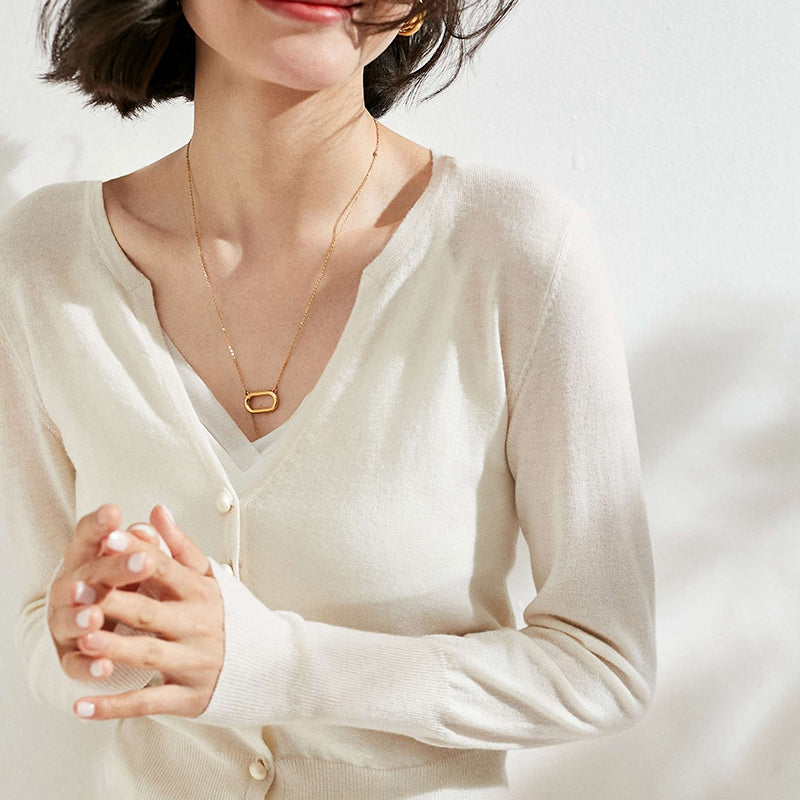 Pearl Buttoned Merino Wool Sweater