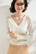 Load image into Gallery viewer, Pearl Buttoned Merino Wool Cardigan