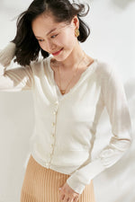 Load image into Gallery viewer, White Pearl Buttoned Merino Wool Cardigan