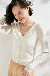White Pearl Buttoned Merino Wool Cardigan