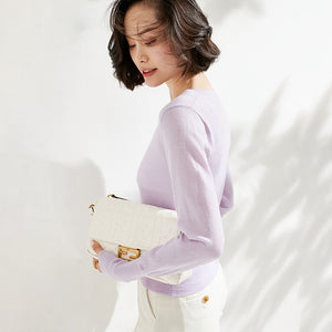 Violet Small Pearl Buttoned Merino Wool Sweater