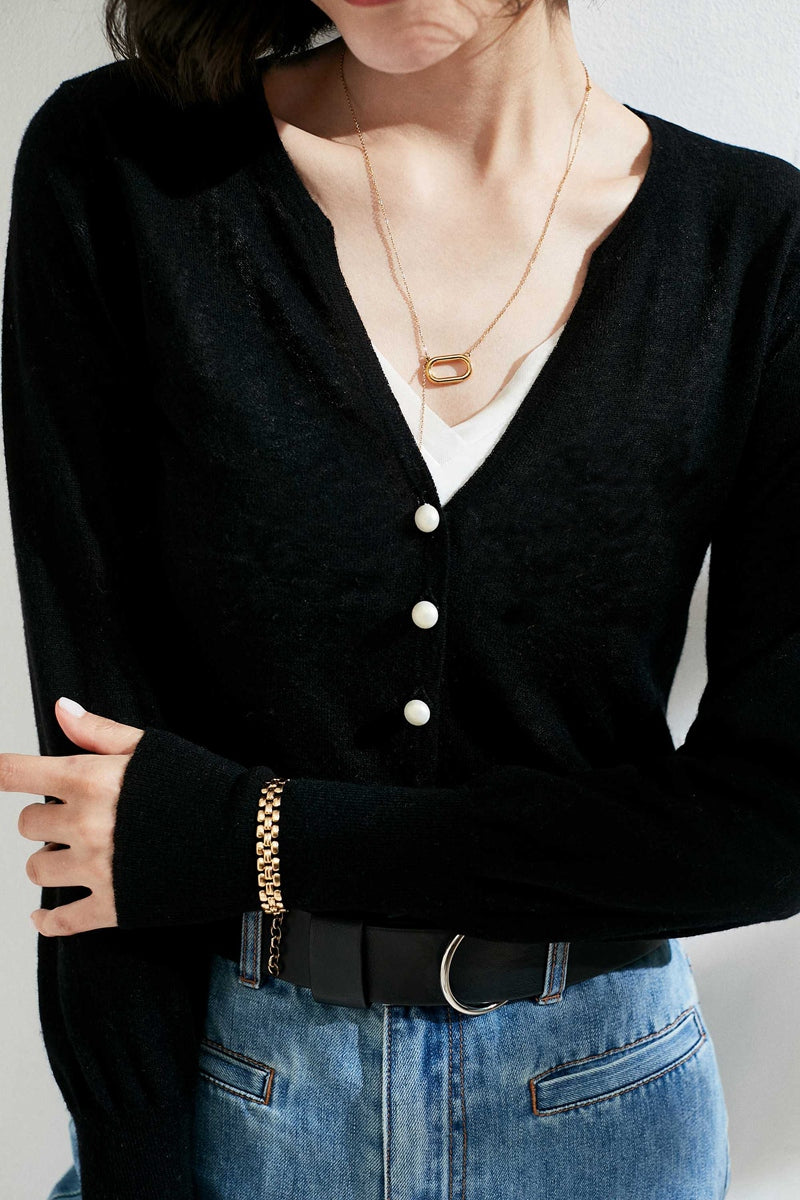 Black Small Pearl Buttoned Merino Wool Sweater
