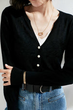 Load image into Gallery viewer, Black Small Pearl Buttoned Merino Wool Sweater