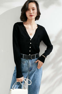 Black Pearl Buttoned Merino Wool Sweater