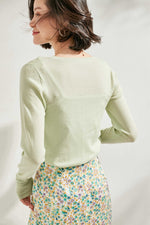 Load image into Gallery viewer, Pistachio Small Pearl Buttoned Merino Wool Sweater