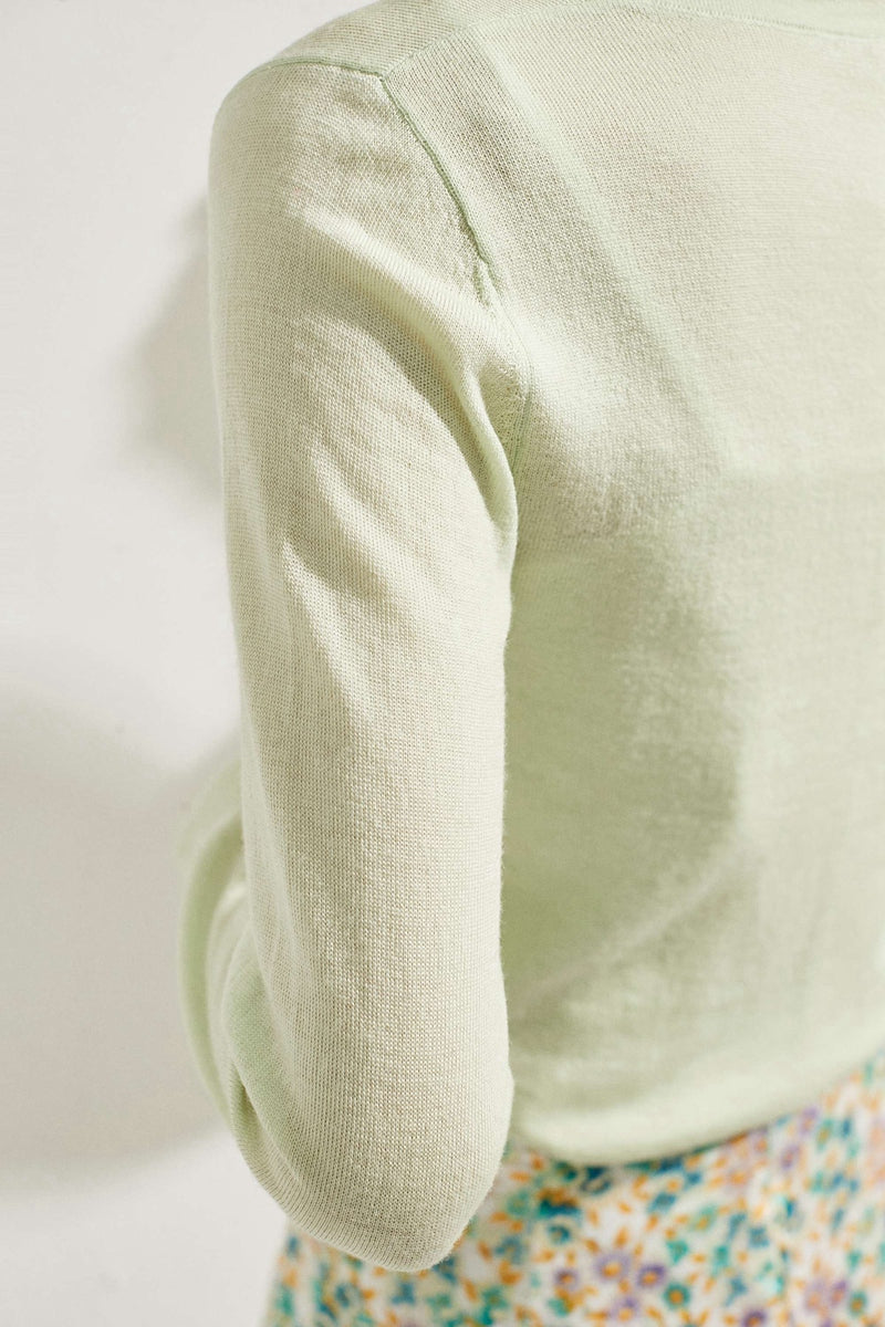 Pistachio Large Pearl Buttoned Merino Wool Sweater