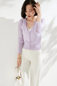 Violet Large Pearl Buttoned Merino Wool Sweater