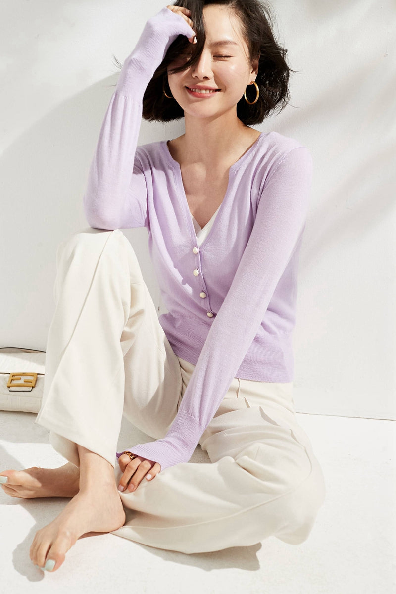 Violet Pearl Buttoned Merino Wool Sweater