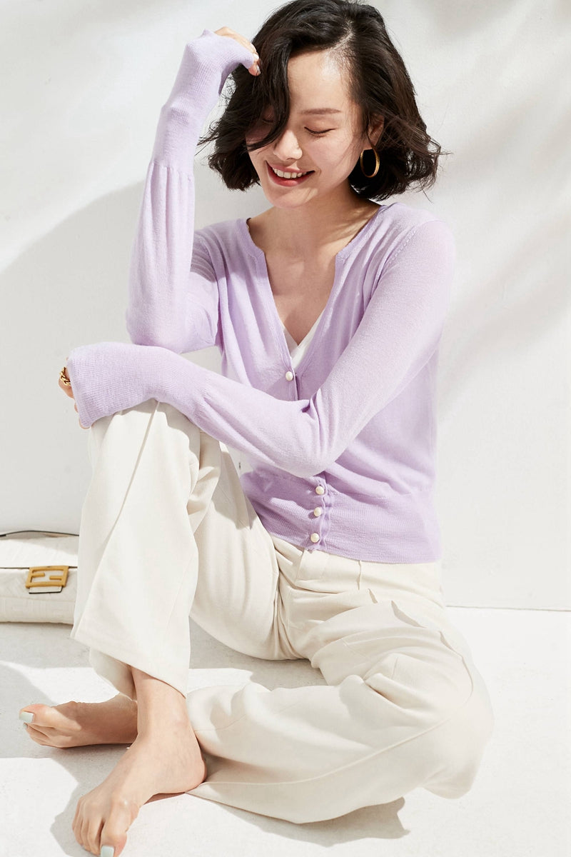 Violet Medium Pearl Buttoned Merino Wool Sweater & Cardigan