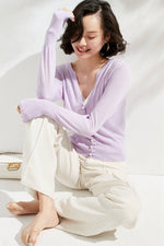 Load image into Gallery viewer, Violet Medium Pearl Buttoned Merino Wool Sweater & Cardigan
