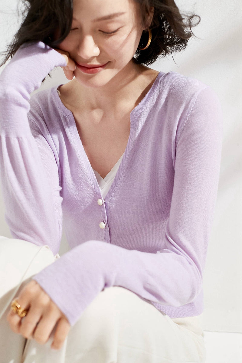 Violet Pearl Buttoned Merino Wool Cardigan
