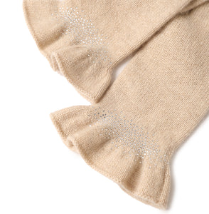 Drilling Ruffled 100% Cashmere Knitted Gloves