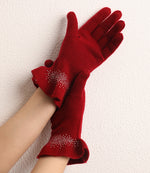 Load image into Gallery viewer, Drilling Ruffled 100% Cashmere Knitted Gloves