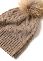 Load image into Gallery viewer, Cable beanie with fox fur pom