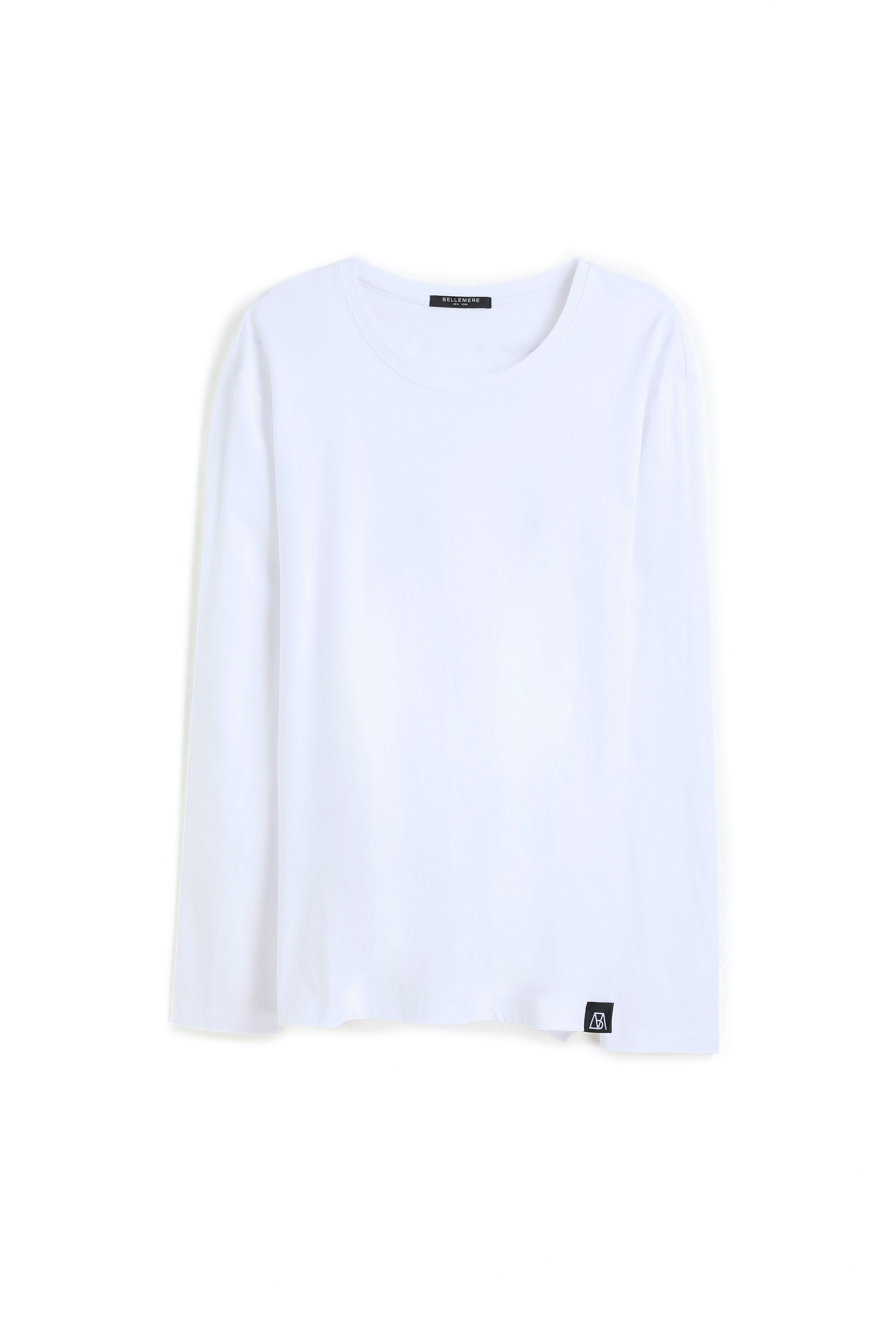 Long Crew Neck Mercerized Cotton T- shirt