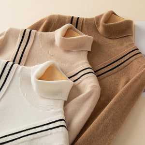 Woolen Cashmere Deep V Turtleneck