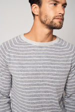 Load image into Gallery viewer, Stripe Crew Cashmere Neck Sweater