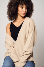 Load image into Gallery viewer, Oversized Cashmere V-Neck Sweater