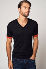 Load image into Gallery viewer, Worsted Cashmere Striped Sleeve T-Shirt