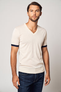 Worsted Cashmere Striped Sleeve T-Shirt