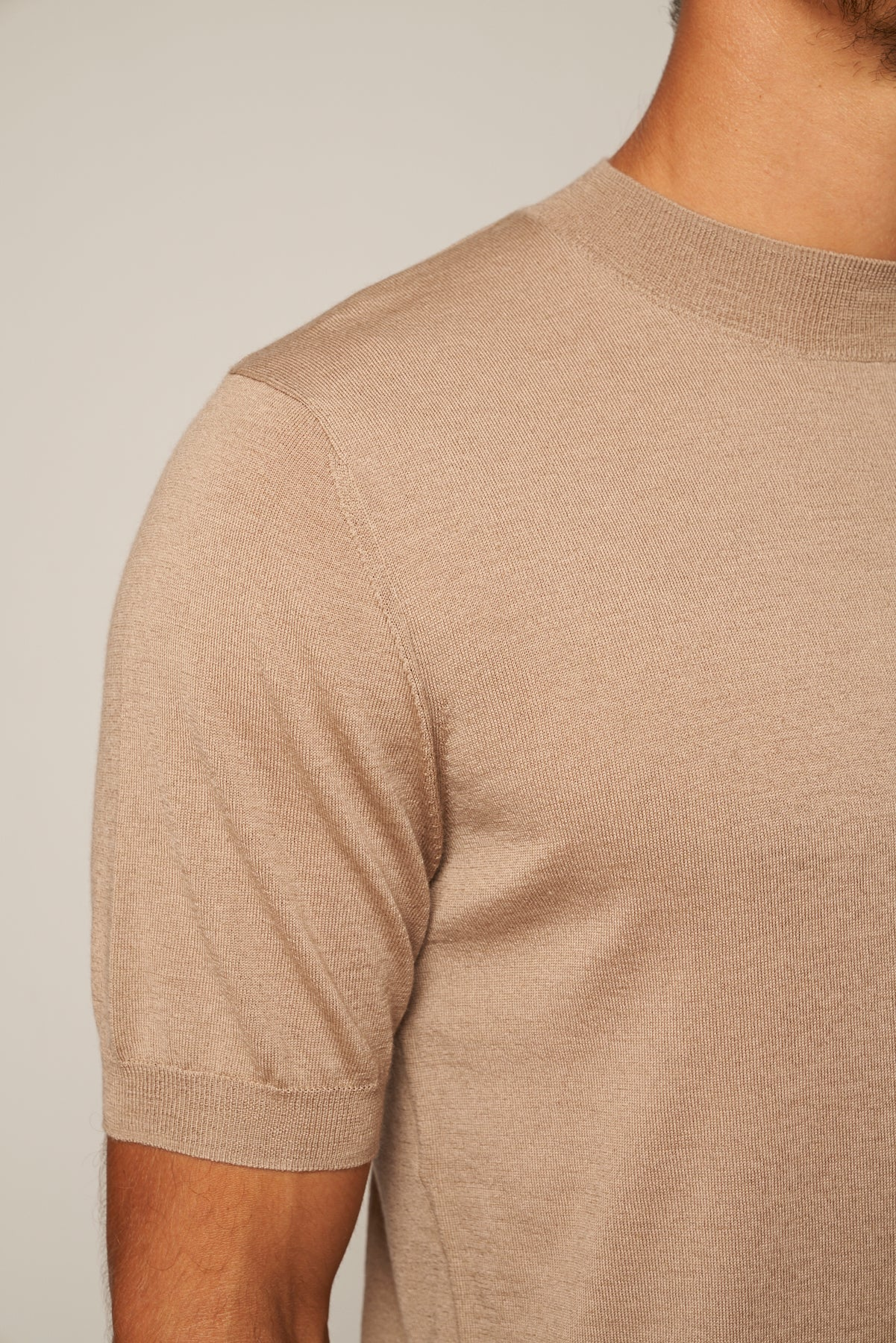 Worsted Cashmere High Neck Short Sleeve Tee