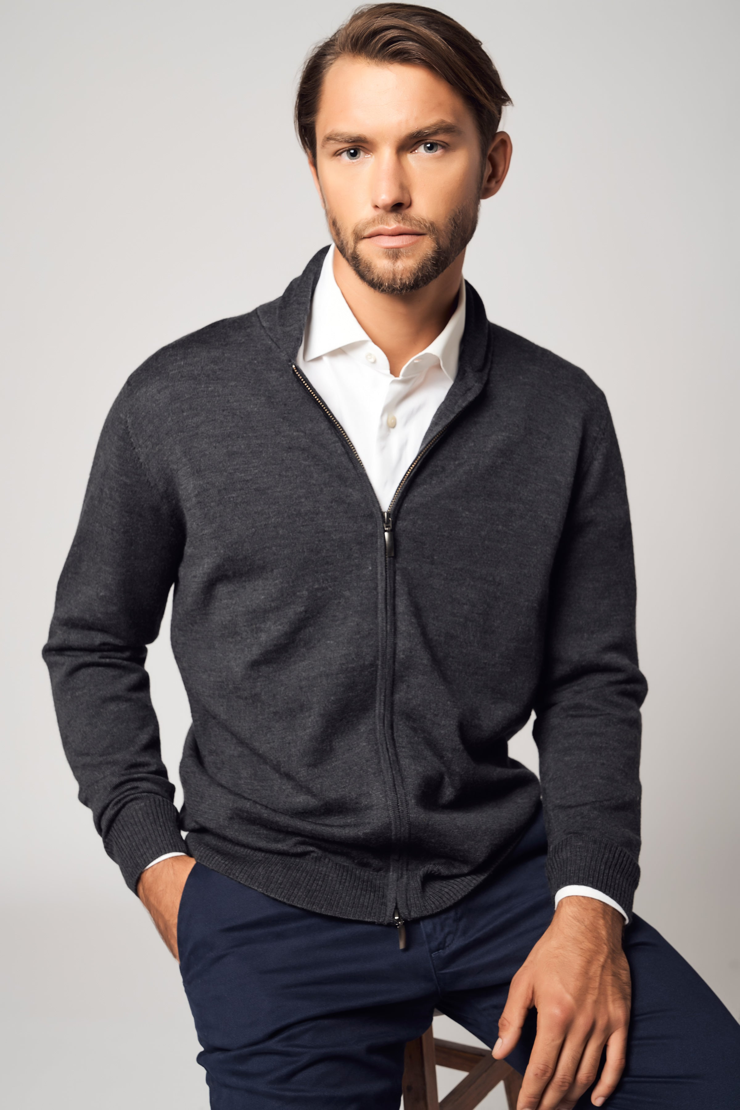 SuperFine Wool Zipper Cardigan
