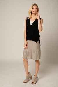 Pleated A Line Skirt