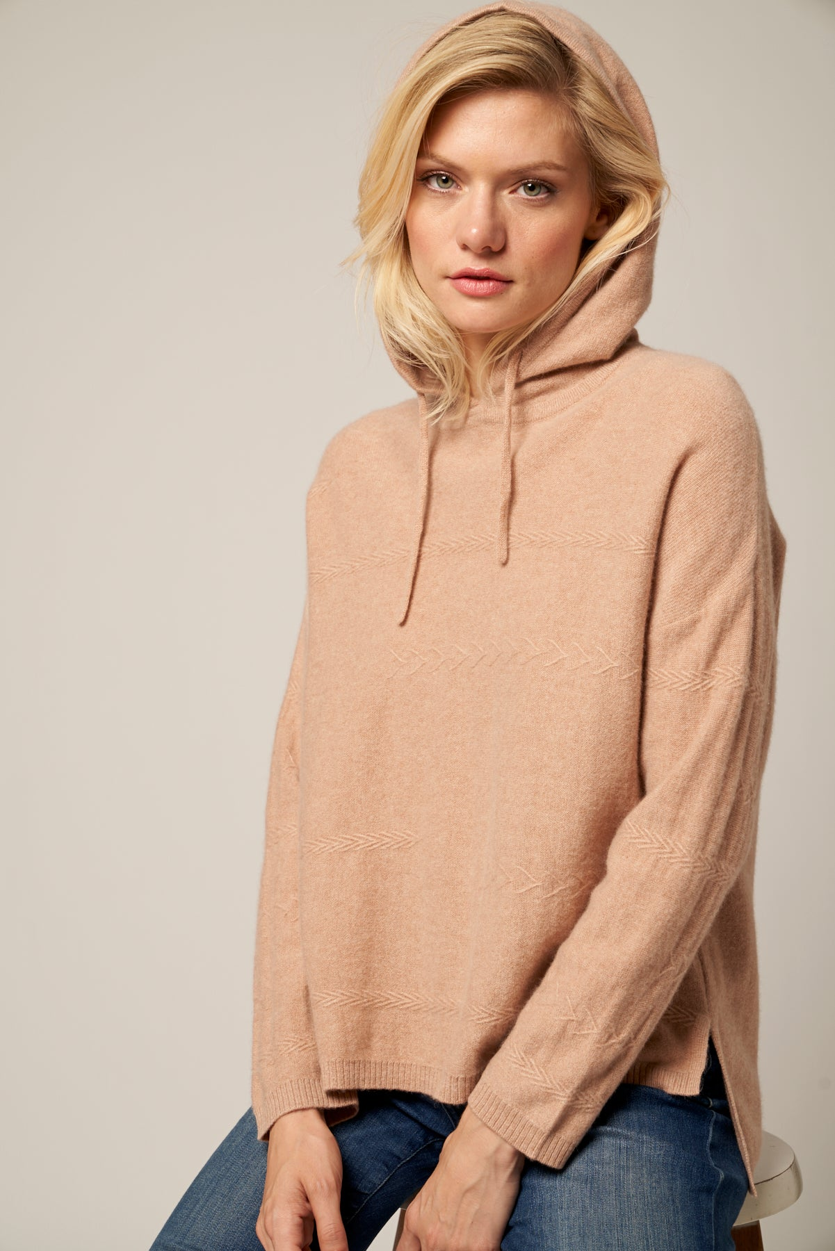High Low Cashmere Hoodie