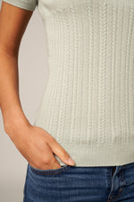 Load image into Gallery viewer, Half & Half Cable Knit Top