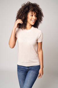 Wide Ribbed Worsted Cashmere T-Shirt