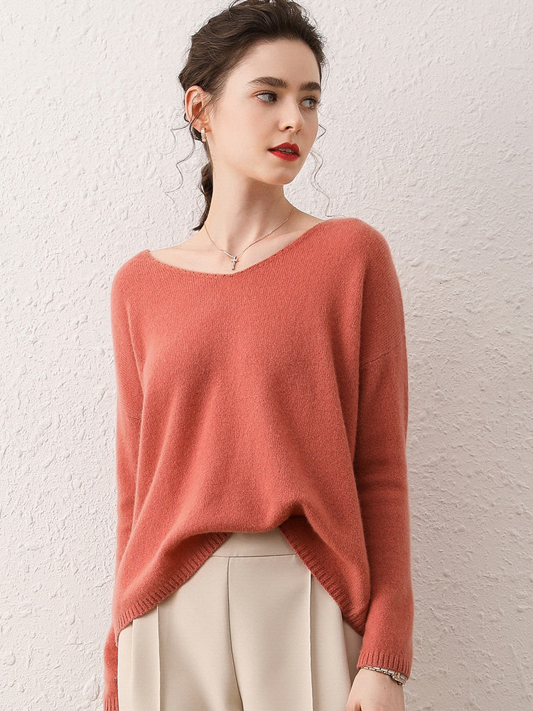 100% Cashmere Wide Neck Sweater
