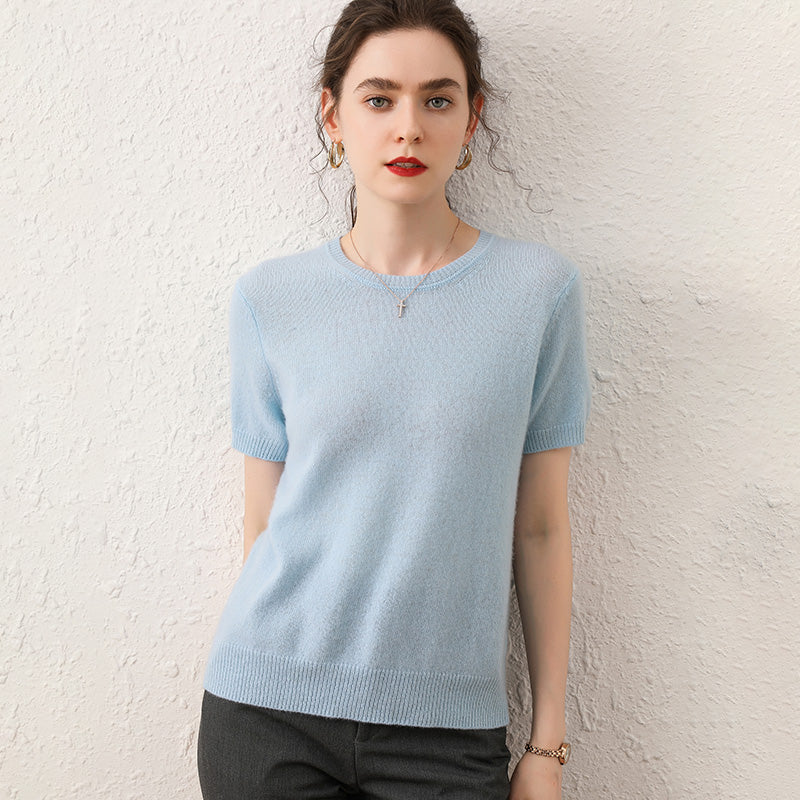 100% Cashmere Half-Sleeved Sweater