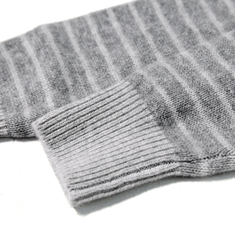 Stripe Crew Cashmere Neck Sweater