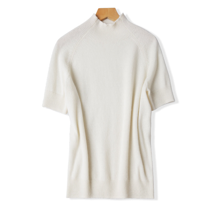 Mock Neck Short Sleeve Worsted Cashmere Sweater