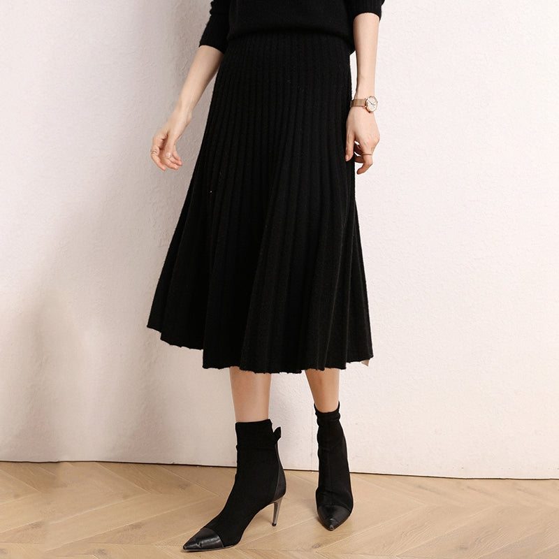 Cashmere Pleated Skirt