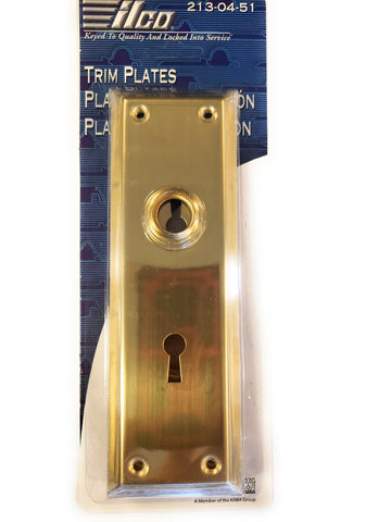 Ilco 213-04-51 Mortise Lock Trim Plates Brass Finish