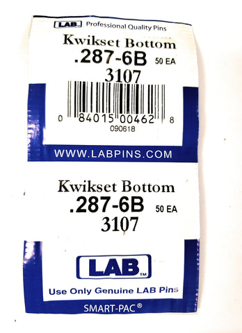 LAB 3107 Kwikset #6 Bottom Pins 100 Pack