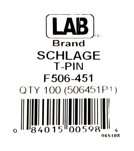 LAB F506-451 Schlage F Series T Style Top Pins 100 Pack